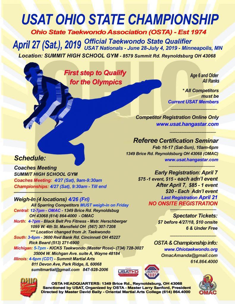 OSTA Event Poster 2019 Ohio State Taekwondo Championship